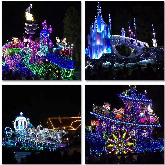美呆!夜晚迪士尼的花车绚烂多彩