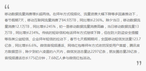 工信部2018年春节期间通信业运行数据